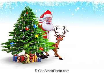 kerstman, met, kerstboom