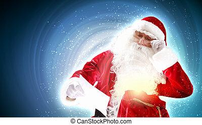 kerstman, met, kerstmis, brief
