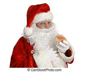 kerstman, met, kerstmis koekje