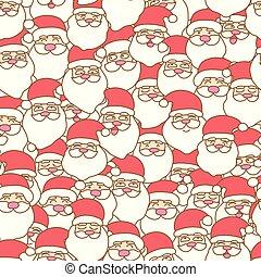 kerstman, model, claus, seamless, achtergrond