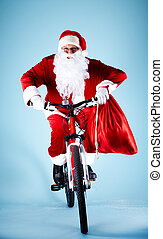 kerstman, op, fiets