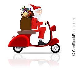 kerstman, op, scooter