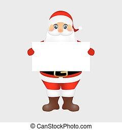 kerstman, peeping, van achter, een, groot, witte , poster