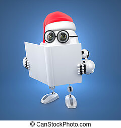 kerstman, robot, het lezen van een boek