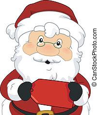 kerstman, rood etiket, verkoop