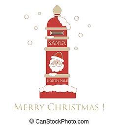 kerstman, schattig, winter, claus, theme., illustratie, brievenbus, snow., year., vector, santa's, vrolijk, brief, nieuw, kerstmis, vrolijke