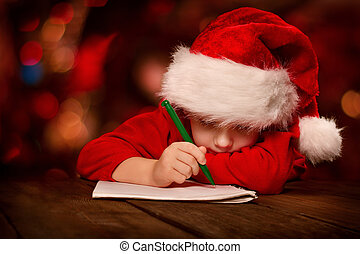 kerstman, schrijvende brief, kind, hoedje, kerstmis, rood