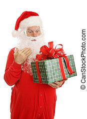 kerstman, slaperig, verwonderd, cadeau