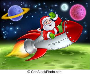 kerstman, spotprent, illustratie, raket, ruimte