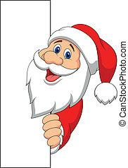 kerstman, spotprent, met, leeg teken