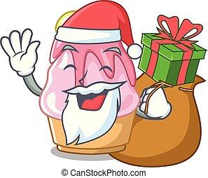 kerstman, spotprent, vrijstaand, cadeau, kakigori