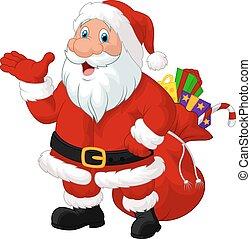 kerstman, spotprent, zak, vrolijke