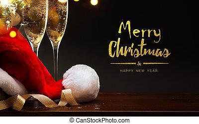 kerstman, year;, vrolijk, nieuw, champagne, hoedje, kerstmis, vrolijke