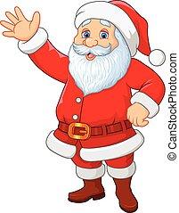 kerstman, zwaaiende , spotprent, hand, gekke