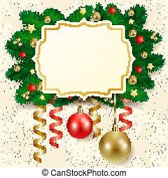 kerstmis, achtergrond, etiket
