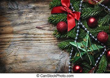 kerstmis, achtergrond, houten