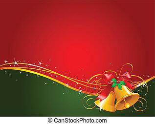 kerstmis, achtergrond, klokken