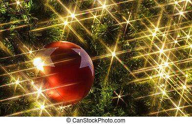 kerstmis, achtergrond, met, een, rood, ornament