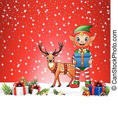 kerstmis, achtergrond, met, elf, en, hertje