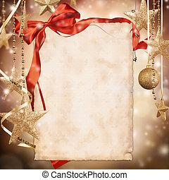 kerstmis, achtergrond, met, leeg, papier