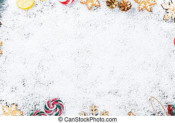kerstmis, achtergrond, met, peperkoek, snowflakes, wite sneeuw, speelgoed, citroen, versuikeren, en, jaarwisseling, decor., winter vakantie, frame, op, een, black , wooden table
