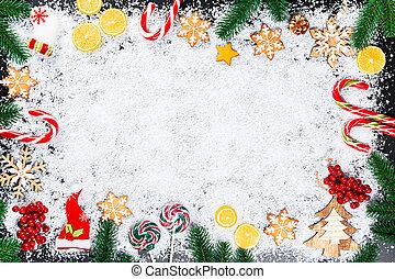 kerstmis, achtergrond, met, peperkoek, snowflakes, wite sneeuw, speelgoed, citroen, versuikeren, kerstboom, takken, en, jaarwisseling, decor., winter vakantie, frame