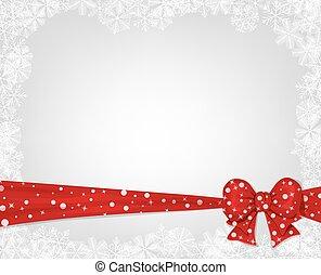 kerstmis, achtergrond, met, rode boog