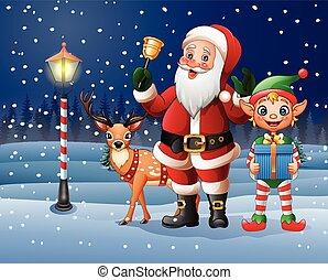 kerstmis, achtergrond, met, santa claus, hertje, en, elf