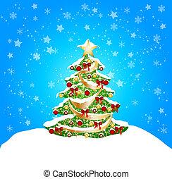 kerstmis, achtergrond, met, sneeuw, en, coorful, boompje