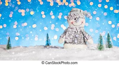 kerstmis, achtergrond, met, sneeuwpop