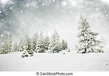 kerstmis, achtergrond, met, sterretjes, en, besneeuwd, fir...