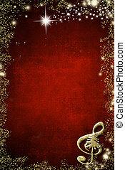 kerstmis, achtergrond, muzikalisch, copyspace.