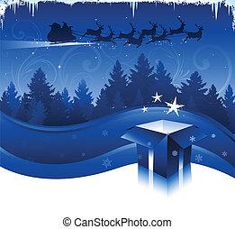 kerstmis, achtergrond, nacht