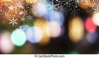 kerstmis, achtergrond, ontwerp, van, sneeuwvlok, en, bokeh, licht