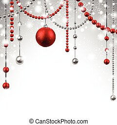 kerstmis, achtergrond, rood, baubles.