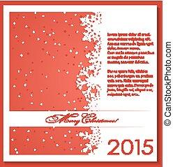 kerstmis, achtergrond, rood, snowflakes.