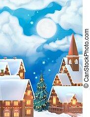 kerstmis, achtergrond., vector, illustration., kerstmis, dorp