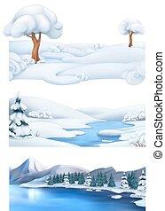 kerstmis, achtergrond., winter, landschap., 3d, vector, spandoek, set