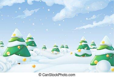 kerstmis, achtergrond., winterlandschap, 3d, vector, illustratie