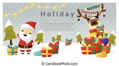 kerstmis, achtergrond, zalige kerst, met, santa claus, 2