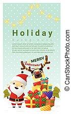 kerstmis, achtergrond, zalige kerst, met, santa claus, 3