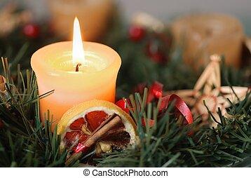 kerstmis, advent, krans, -, detail