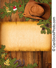 kerstmis, amerikaan, achtergrond, met, cowboy hoed, en, oud, papier