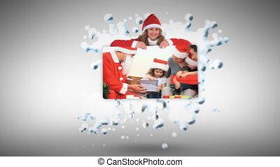 kerstmis, animatie, met, families
