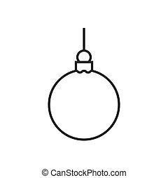 kerstmis bal, lijn, pictogram
