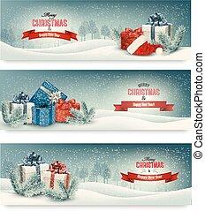 kerstmis, banieren, drie, vector., geschenken.