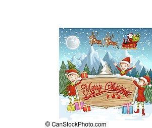 kerstmis, banieren, met, santa claus