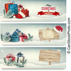 kerstmis, banieren, winter, vector., geschenken.