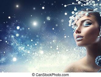 kerstmis, beauty, girl., winter vakantie, makeup, met, edelsteenen, op, lippen