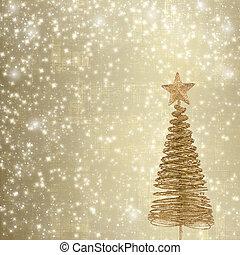 kerstmis, begroetende kaart, met, goud, metaal, firtree, op, de, abstract, achtergrond, met, snowflakes